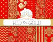 """Red Digital Paper: """" RED & GOLD"""" with red and gold damask, metallic gold damask, red scrapbook paper, red and gold patterns for scrapbooking"""