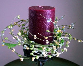 Cream Yellow Green Candle Ring - Wreath, Twig Wreath,  Pantry Door Wreath with Berries and Flowers