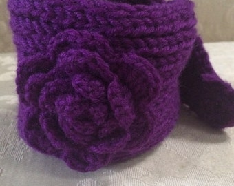 Knit Ear Warmer, Knit Headband, Purple Knit Headband, Ear Warmer