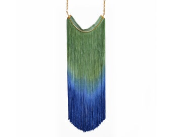 Long Fringe Necklace, Fringe Statement Necklace, Hand Dyed Ombre Fringe, Elegant Necklace