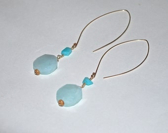 Aquamarine & Amazonite Geometric Dangle Earrings in 14K Gold//Unique//Statement//Visionary//Modern//Goddess Bling