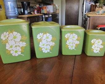 1950s Green Plastic Canister Set