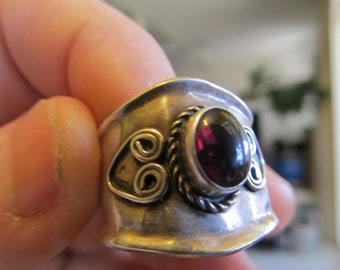 Hand Made Silver and Garnet Ring Size 8