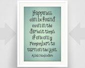"Harry Potter Print, Dumbledore Quote, Inspirational Quote Art, Gift, Children's, ""Happiness can be found..."", Art Poster, Typography"