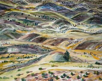 Somewhere in Oregon - watercolor landscape (ORIGINAL)