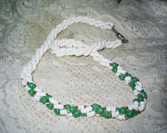 Vintage Milk Glass & Peking Glass Beaded Necklace