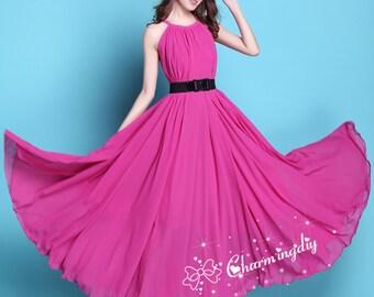 60 Colors Chiffon Rosy Long Party Dress Evening Wedding Sundress Maternity Summer Beach Dress Bridesmaid Dress Maternity Dress Maxi Skirt