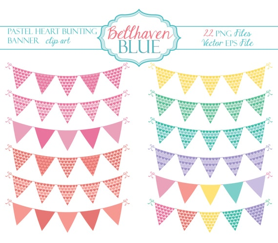 Items similar to Pastel Heart Bunting Banner Clipart on Etsy
