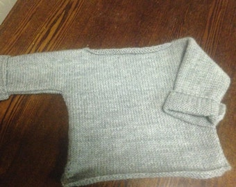 Hand knitted baby boy/ Girl jumper long sleeves T top - Grey color- 100% wool- New item- STYLE#2