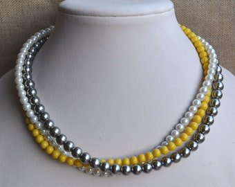 pearl necklace,3-rows pearl necklaces,wedding necklace,bridesmaids necklace,glass pearls necklace, pearl necklace,white gray yellow necklace