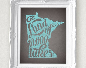 Minnesota Land of 10000 Lakes State Print 8 x 10