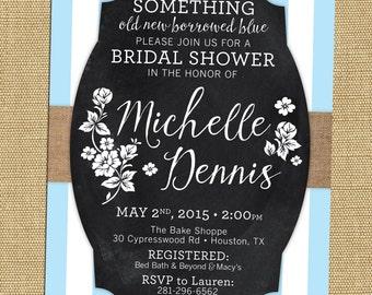 Something Blue Bridal Shower Invite Rustic Chalkboard Bridal Shower Invite  Blue Bridal Shower Invitation