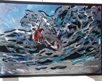 Surfer on the wave 3D metal artwork
