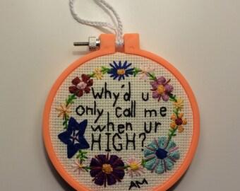 SALE Arctic Monkeys: Embroidery Hoop Art
