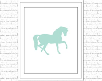 Mint Horse Silhouette Print | 8x10 Printable Art Print | Girl Wall Art | Girl Printable | Instant Download Printable, Aqua