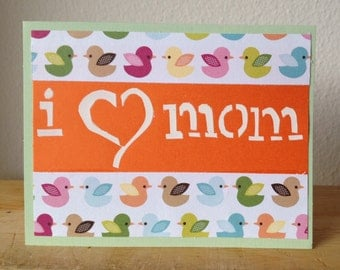 """i """"heart"""" mom, Mother's Day, Birthday, Any Occasion, Greeting Card"""