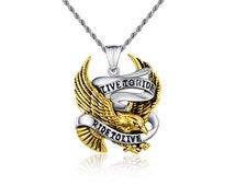Stainless Steel harley davidson Live to Ride Eagle Ride to Live Motorcycle Pendant Biker Necklace Mens Biker Necklace,