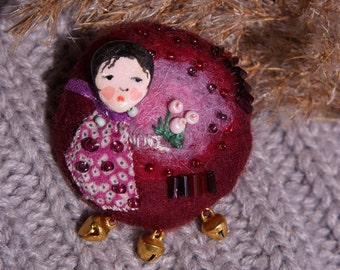 Needle felted brooch Crimson
