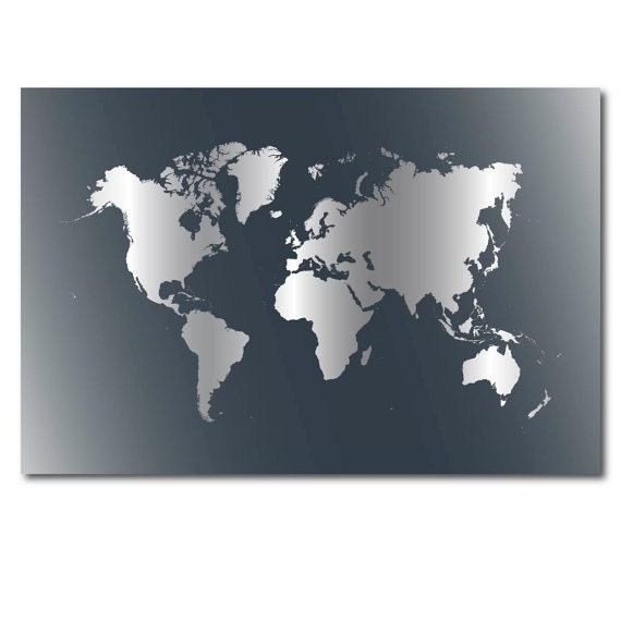 Large world map poster gray download world map wall decor - Pochoir mural a peindre ...