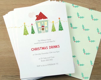 Personalised Christmas Party Invitations -- Minimum order 8