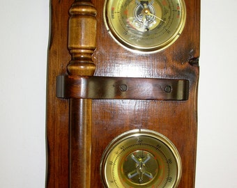 Vintage Carrington Barometer & Thermometer Nautical Wall Decor With Belaying Pin