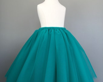Long toddler tutu, flower girl tutu, long tulle skirt, teal tutu, long tulle skirt ANY COLOR