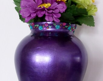 Metallic purple jeweled vase, bright purple glass vase, purple flowered vase, hand painted purple vase, jeweled flowered purple vase