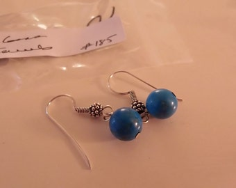 Blue Howlite Sterling Silver dangle earrings #185