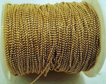 33 Feet -10 Meter Raw Brass  1 mm Ball Chain