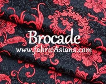 Feather Brocade. Black Red Brocade. Black brocade fabric.