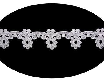 1.75 Inches Wide -- White Floral Pattern Venice Lace Trim Guipure Trimming Sewing Notions Craft Supplies Scrapbooking Decoration BB217