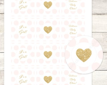 pink gold cupcake toppers baby girl shower gold heart printable custom cupcake toppers pink polka dots