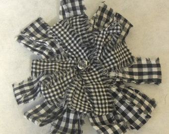 VINTAGE - Black and White Frayed Fabric Flower, Decorative Pin