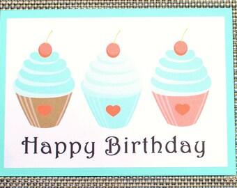 Birthday card - Three cupcakes - P5/20