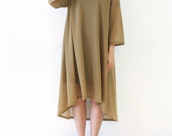 Womens Long Dress Silk Linen Blend Loose Fit Casual Dress Thin 3/4 Sleeve