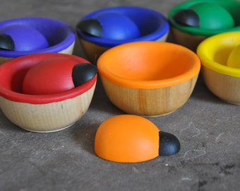 Bugs & Bowls Rainbow Sorting Toy - A Waldorf and Montessori Inspired Wooden Toddler Toy