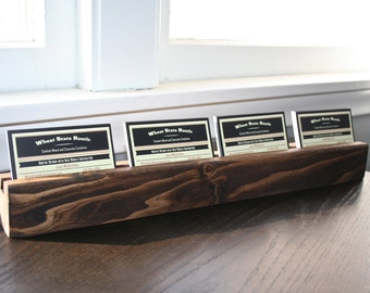 Rustic Four Business Card Holder for Office or Desk