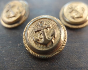 Set of 3 antique gold buttons nautical decor / marine anchor