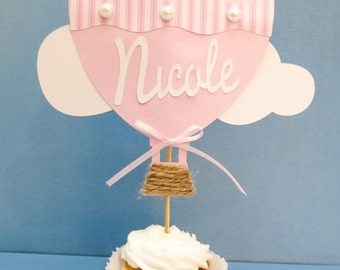Personalized Hot air Balloon Cake Topper