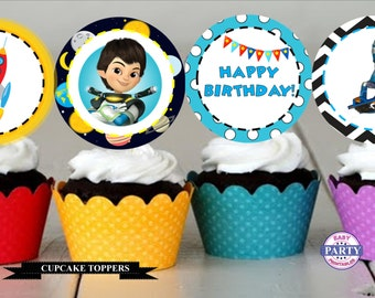 Miles to Tomorrowland Party Package, Personalized, Disney Space Party, Miles, Outer Space, Cupcake Toppers, Banner, DIY, party signs