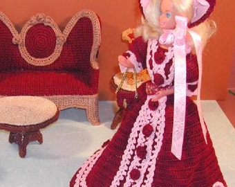 Crochet Fashion Doll Barbie Pattern- #182 VISITING COSTUME