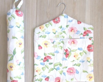 Handmade Shabby Chic Floral Peg Bag & Matching Carrier Bag Holder