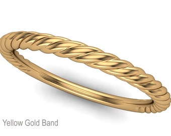 Twisted 14K Yellow Gold Wedding Band