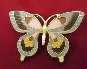Vintage Estate Asian Decorative Enamel Butterfly Brooch E1831