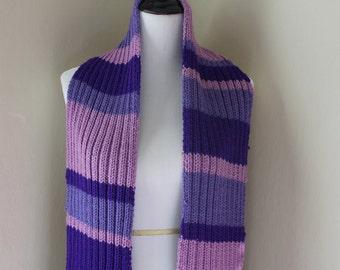 Handmade Amethyst Knit Ribbed Scarf
