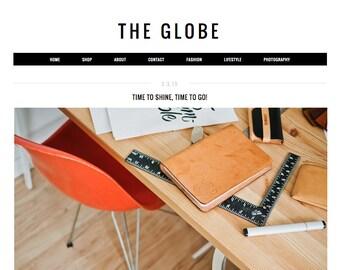 "Responsive Blogger Template ""The Globe"" / Instant Digital Download Premade Blog Theme Design"