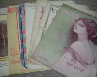 Seven vintage pieces of sheet music