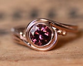 Unique rose gold engagement ring - pink tourmaline engagement ring with gold swirl band - artisan ring Pirouette ring - custom made to order