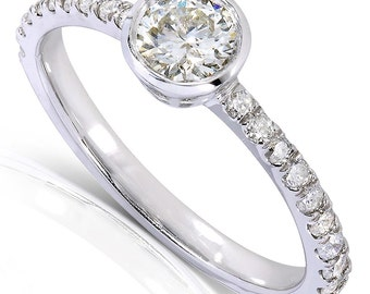 Contemporary Round Bezel Diamond Engagement Ring 3/5 Carat (ctw) in 14k White Gold