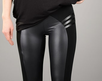 Womens Leggings, Leather Pants, Yoga Pants, Womens Tights, Leather Leggings, Sexy Black Pants, Black Leggings, Sexy Leggings, Tight Pants